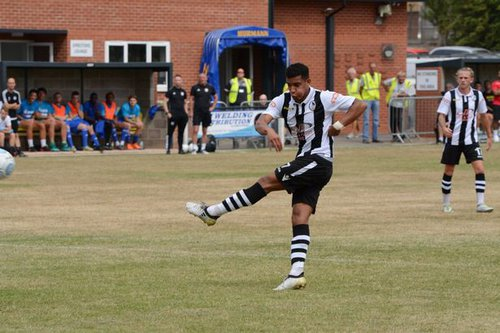 Coutney Wilden of Coalville Town playing football before his leukaemia diagnosis