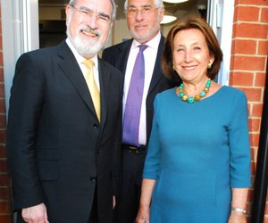 David and Hannah Lewis with Lord Jonathan Sacks. Picture Polly Hancock. Source hamhigh.co.uk