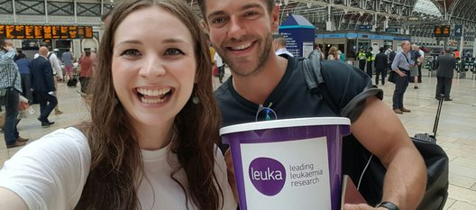 Volunteers with leuka collection buckets