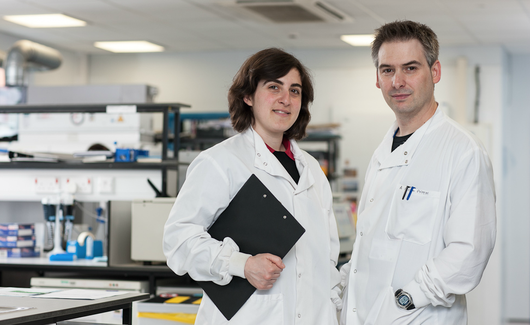 Leukaemia researchers with clipboard