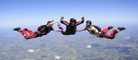 Skydiving trio in freefall